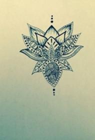 莲花纹身 简约线条纹身莲花纹身手稿