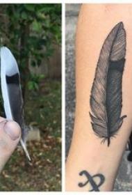 羽毛纹身图 男生手臂上黑色的羽毛纹身图片
