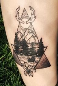 山水纹身图案 男生小腿上简单线条纹身山水纹身图案