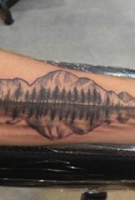 手臂山水纹身 男生手臂山水纹身唯美图片