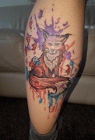 百乐动物纹身 男生小腿上彩色的狐狸纹身图片