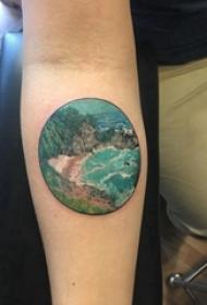 手臂山水纹身 女生手臂上山水纹身图案