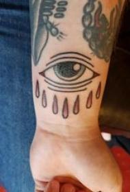 眼睛纹身 男生手腕上彩色的眼睛纹身图片