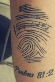 欧美小腿纹身 男生小腿上黑色的指纹纹身图片