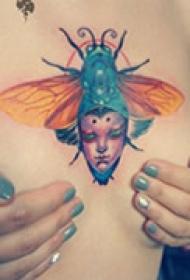 艺术抽象胸部纹身