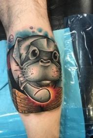 小狗纹身图案 男生小腿上小狗纹身图案