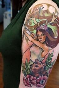 女生人物纹身图案 女生手臂上女性人物纹身图案