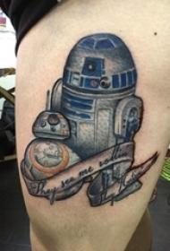 紋身大腿男 男生大腿上彩色的機器人紋身圖片