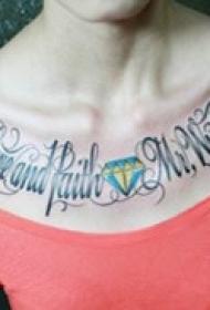 艺术英文胸部纹身