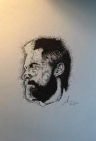 人物肖像纹身 精致的黑色的人物肖像纹身手稿