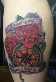 文艺花朵纹身 女生小腿上文艺花朵纹身指南针图片