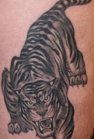老虎图腾纹身 男生大腿上老虎图腾