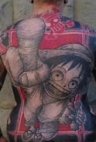 彩色卡通满背纹身