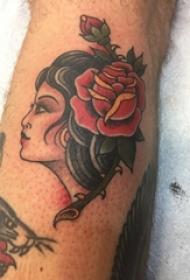 女生人物纹身图案 男生小腿上人物纹身图片