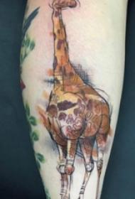 卡通长颈鹿纹身 多款彩绘纹身素描卡通长颈鹿纹身图案