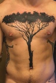 纹身胸部男 男生胸部黑色的大树纹身图片