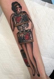 女生人物纹身图案 多款欧美抽象纹身彩色女生人物纹身图案