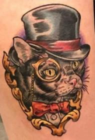 猫咪纹身简单 女生大腿上小猫咪纹身图片