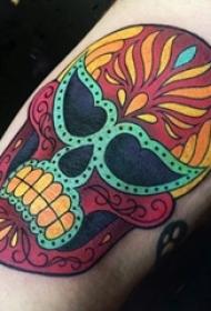 骷髅头纹身 多款彩绘纹身花朵骷髅头纹身图案