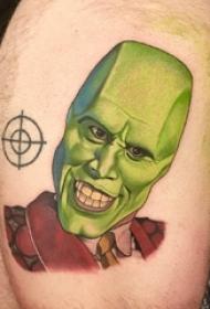 人物纹身图片 男生大腿上人物纹身图片
