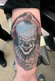 小丑纹身 男生手腕上彩色的小丑纹身图片