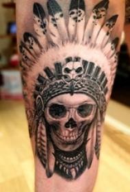 印第安人纹身 男生大腿上印第安人纹身图片