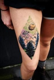 彩绘纹身 女生大腿上飞碟和风景纹身图片