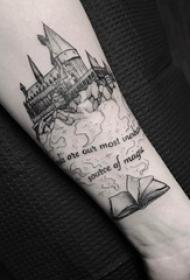 建筑物纹身 男生手臂上书籍和建筑物纹身图片