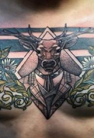 文艺鹿纹身 男生胸部文艺鹿纹身图片