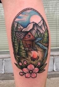 小腿对称纹身 女生小腿上花朵和风景纹身图片