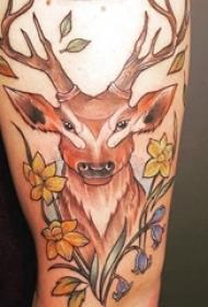 欧美小腿纹身 女生小腿上花朵和鹿纹身图片