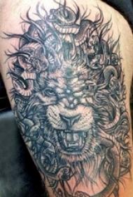 狮子头纹身图片 女生大腿上狮子头纹身图片