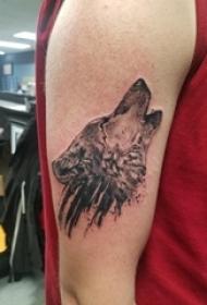 狼纹身 男生手臂上狼头纹身图片