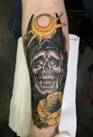 骷髅纹身 男生手臂上骷髅纹身图案