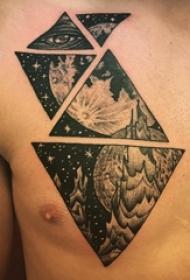 小宇宙纹身 男生胸部黑色的宇宙风景纹身图片