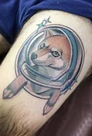 小狗纹身图片 男生大腿上狗纹身图案