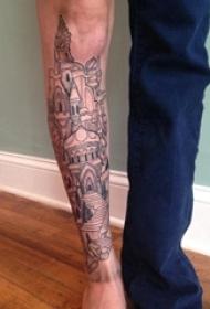 小腿对称纹身  男生小腿上黑色的建筑物纹身图片