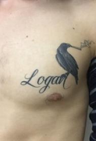 纹身胸部男 男生胸部彩色的熊纹身图片