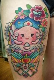 卡通可爱纹身图案 女生大腿上卡通纹身图案