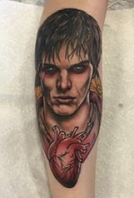人物肖像纹身 男生手臂上人物肖像纹身心脏纹身图片