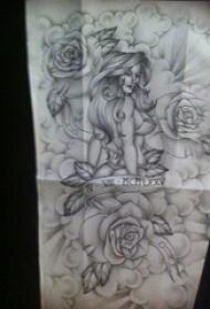 纹身人物手稿 黑灰纹身人物纹身手稿