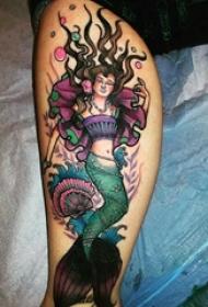 纹身美人鱼图案 女生小腿上美人鱼纹身图片