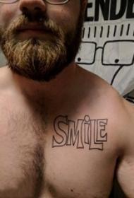 纹身胸部男 男生胸部黑色的英文单词纹身图片