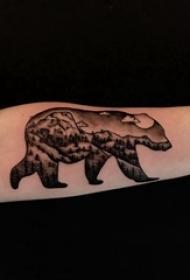 百乐动物纹身 女生手臂上熊和风景纹身图片