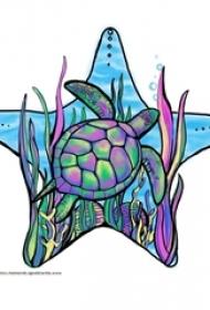 多款线条素描文艺可爱有趣海龟动物纹身手稿