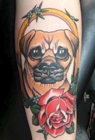 小狗纹身图片 男生手臂上小狗纹身彩色图片