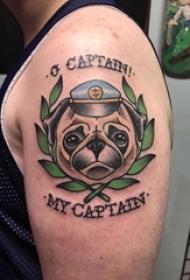 狗纹身 男生手臂上小狗纹身图案