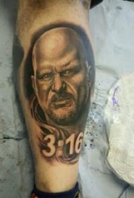 人物肖像紋身 男生小腿上數字紋身人物肖像紋身圖片