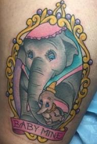 象纹身 女生大年夜腿上象纹身图片