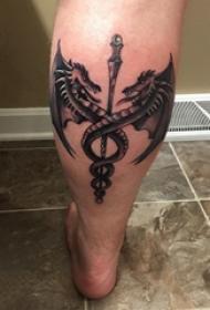 飞龙纹身图 男生小腿上飞龙纹身图案